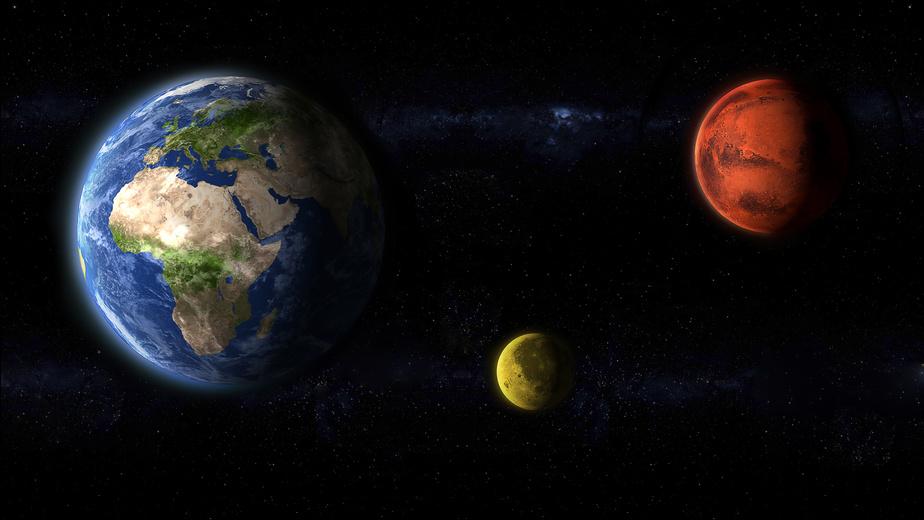 La terra e Marte